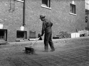 Man Sweeping Seattle Street